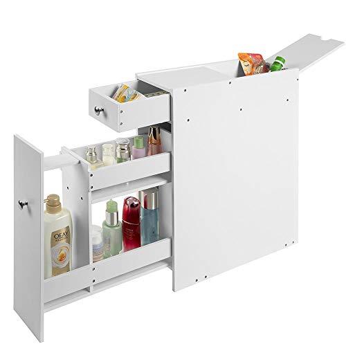 Bakaji mobiletto a colonna salvaspazio per bagno mobile cassettiera in legno mdf bianco con 2 cassetti 3 scomparti e scomparto a scomparsa dimensione 48 x 16 x 58 cm