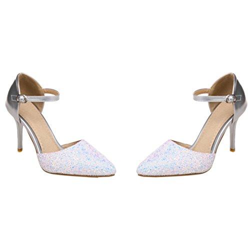 AIYOUMEI Damen Spitz Glitzer Knöchelriemchen Pumps mit 9cm Absatz Stiletto High Heels Modern Pailletten Pumps Schuhe Silber