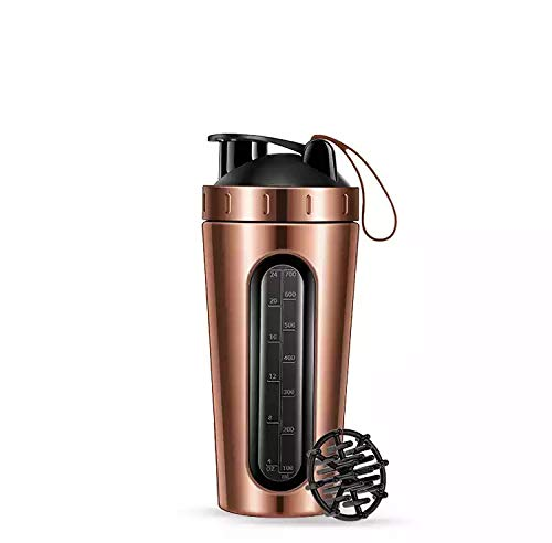 Jay Stainless Steel Shaker, Visible Window,Leak Proof, BPA Free, (750 ML,Rose Gold)