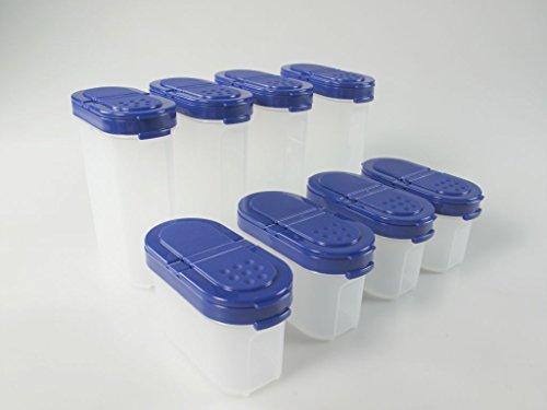 TUPPERWARE Gewürz-Riesen + Gewürz-Zwerge Gewürzbehälter Behälter Set (8) BLAU Gewürze