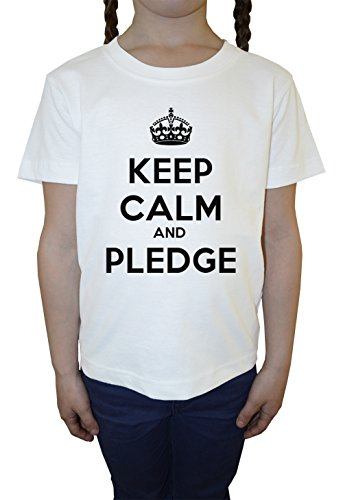 keep-calm-and-pledge-blanc-coton-filles-enfants-t-shirt-col-ras-du-cou-manches-courtes-white-girls-k