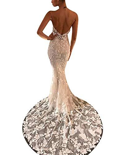 Mujer Largo Vestido de Cóctel Cabestro Sin Mangas Vestidos de Fiesta Encaje Blanco S