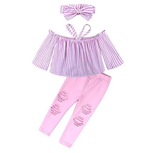 HWTOP Kinderkleidung Streifen Tops + Zerrissene Hosen + Stirnbänder Set Kinder Kinder Mädchen Schulterfrei Outfit Gestreiftes Oberteil