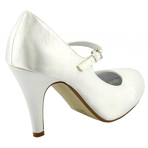 Kick Footwear - Donna abito scarpe donna tacchi da sposa in raso damigella d'onore bianco avorio scarpa Bianco