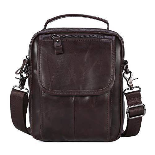Echtes Leder Klein Umhängetasche Herren Tasche Reisen Mini Schultertasche Handytasche Männer Mini Messenger Bag (y-Kaffee)