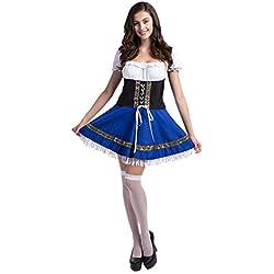 Disfraz de bavara Mujer Traje de Criada Vestido Cosplay de Oktoberfest Talla 34
