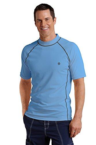 Coolibar Herren Rüschen Schwimmshirt UV-Schutz 50+ T-shirt, Blau, L - Blaue Rüschen Shirt