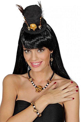 Voodoo Kostümzubehör-Set mit Totenköpfen Knochen und Federn Hut Ohrringe Kette Armband Medizinmann ()