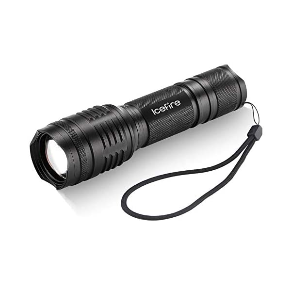 ICEFIRE T70 Torch LED Zoomable Tactical Flashlight CREE XML2 T6 Super Bright 2000 Adjustable Focus Pocket Handheld Light for Camping Dog Walking Hiking Auto Emergencies Home Repair