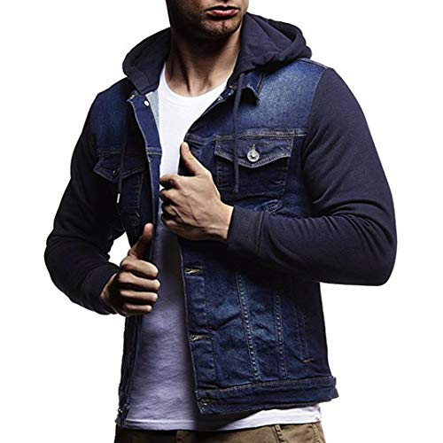 Kanpola Herren Kapuzenjacke mit Reißverschluss Kapuzenpullover Sweatshirt mit Kapuze Mantel Outwear Zip Sweatjacke Jeanshemd...
