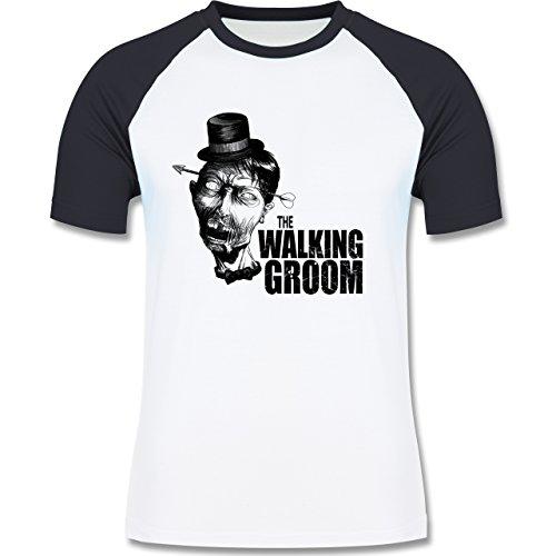 JGA Junggesellenabschied - The Walking Groom - Zombie JGA - zweifarbiges Baseballshirt für Männer Weiß/Navy Blau