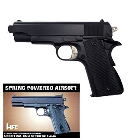 HFC HA102 Airsoft Spring Federdruck Pistole in Schwarz, Nachbildung des Colt 1911, unter 0.5 Joules, Hop up, GRATIS 2000 BULLDOG BBS 0.20G