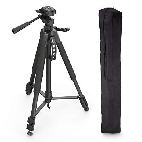 Hama Fotostativ Action 165 3D (Höhe 61-165 cm, 3-Wege Kugelkopf, Gummifüße und Spikes, Belastbarkeit bis 4 kg, Gewicht 1320 g leicht, Kamera Stativ inkl. Tragetasche) schwarz