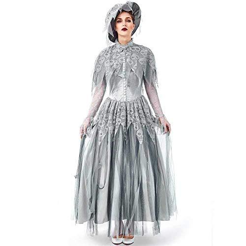 Friedhof Braut Kostüm - GWNJSSX Skeleton Friedhofs Braut Leichen Kleid,Halloween Retro Abendkleid Kostüm Der Erwachsenen Frauen Britischer Art Mit Hut,Gray-M