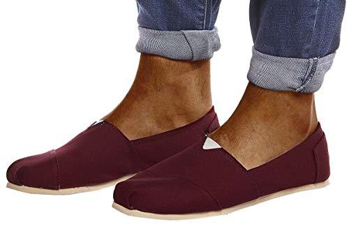 Leif Nelson Herren Espadrilles Gestreifte Schuhe für Freizeit Urlaub Freizeitschuhe für Sommer | Flache Männer Sommerschuhe Sneaker | Weiße Schuhe für Jungen Slipper LN101; 42, Bordeaux