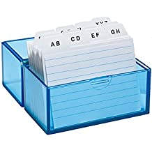 Wedo 2508303 Karteibox DIN A8 quer (aus Kunststoff inklusive 100 Karteikarten, 150 Karten) weiß/liniert/transparentblau