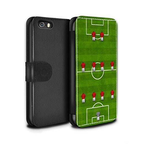Stuff4 Coque/Etui/Housse Cuir PU Case/Cover pour Apple iPhone 5/5S / 4-1-2-1-2/Rouge Design / Formation Football Collection 4-4-2/Rouge
