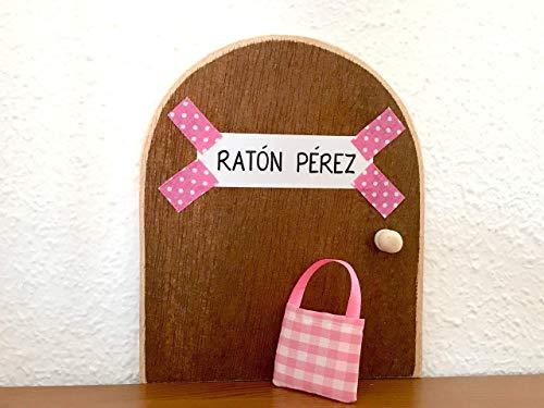 La auténtica puerta rosa mágica del Ratoncito Pérez  De regalo una preciosa bolsita de tela  para dejar el diente. El Ratoncito Pérez, vendrá a por tu diente y te dejará una monedita