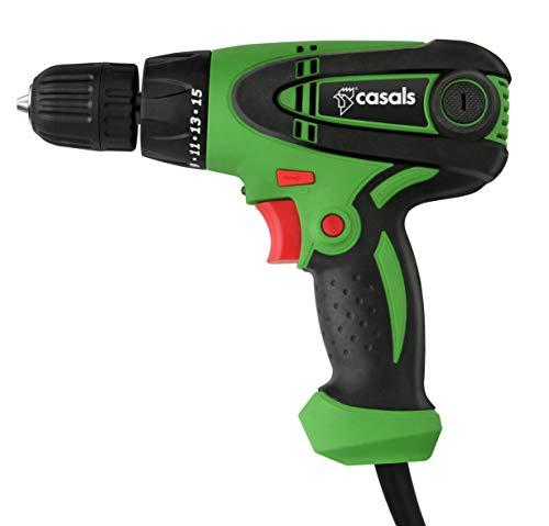 Casals C01290000 Taladro atornillador con cable, 300 W, 0-850 rpm, Verde