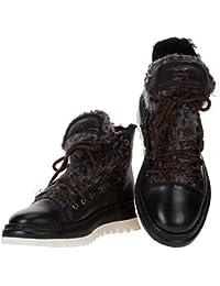 b1227eb59adf16 Area Forte Italienischer Leder Damen Sneakers schwarz halbhoch mit Fell