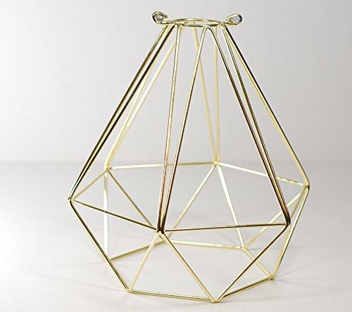 WIRE-Lampada a sospensione con paralume a gabbia in filo dorato