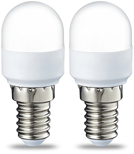 AmazonBasics E14 LED Lampe T25, Kühlschranklampe, 1.8 W (ersetzt 15 W), warmweiß, 2er-Pack