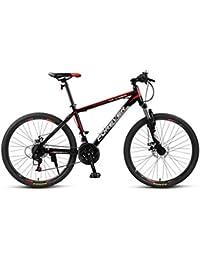 """QJ Bicicleta De Montaña X1 Bicicleta 24~26""""Bicicleta De Freno De Disco De 24 Velocidades,Black Red,24 in"""