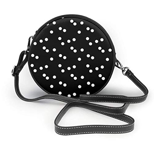 fhjhfgjghfjghfj Black White Polka Dots Print Round Crossbody Bag Umhängetasches Women Shoulder Bag PU Leather Chain Strap and Top Zipper Small Handbag Round Purse Handle Tote -
