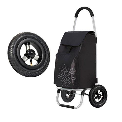 JUN Trolley per la spesa Carrello Pieghevole Leggero da Viaggio Leggero Carrello della Spesa 2 Ruota goata Spinta Pieghevole carrelli Grandi
