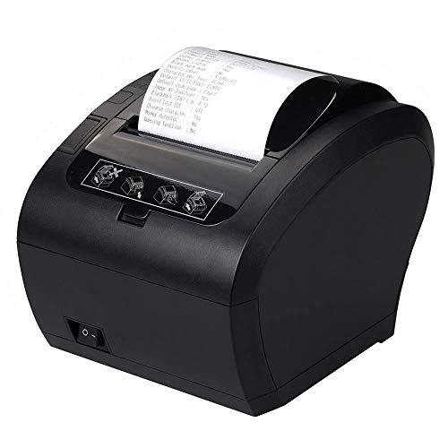80MM USB Thermischer Empfangs Drucker Auto-Cut Schublade Unterstützung,Hochgeschwindigkeits Drucken 230mm / sec, USB, Ethernet (LAN), kompatibel mit ESC/POS Druck Befehlen eingestellt-EU Schwarz (Tinte Keine Drucker)