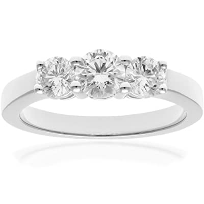 Naava 18ct Gold Trilogy Ring, IJ/I Certified Diamonds, Round Brilliant, 1.00ct