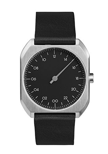 Slow mo-06-custodia in pelle nera, quadrante argento-orologio unisex al quarzo con display analogico e cinturino in pelle, colore: nero