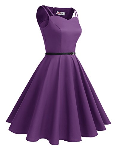 ALAGIRLS 1950er Vintage Rockabilly Einfarbig Party Kleid Retro ...