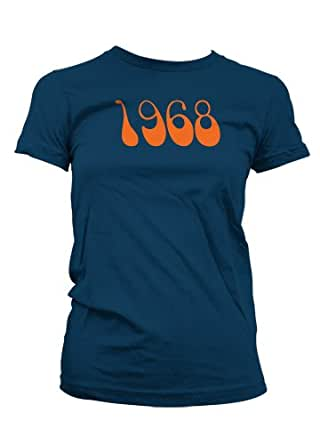 Womens Retro 1968 T-Shirt - Small - Black