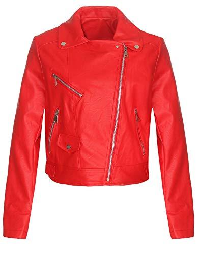 Malito Damen Jacke   Kunstleder Jacke   lässige Bikerjacke mit Zipper   Kurze Jacke - Faux Leather 5173 (rot, XL) (Leder Rot Jacke-faux)