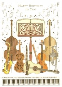Instruments + Stand Happy Birthday Greetings Card