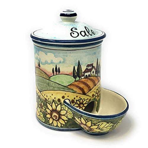 CERAMICHE D'ARTE PARRINI- Ceramica italiana artistica, barattolo sale a scesa decorazione paesaggio girasoli, dipinto a mano, made in ITALY Toscana