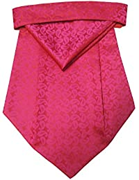 Riyasat - Pink Color Self Design Micro Fiber Cravat with Pocket Square (C_0068)