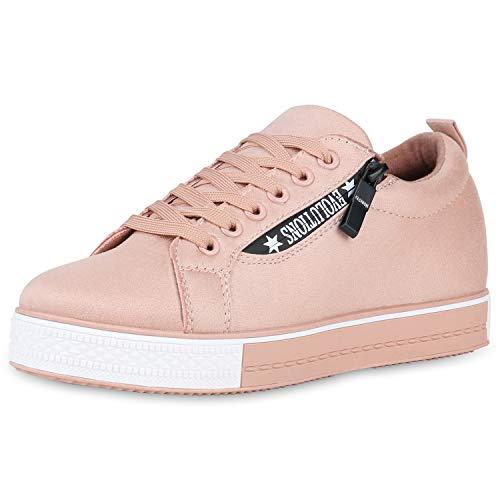 SCARPE VITA Damen Plateau Sneaker Logo Print Turnschuhe Wildleder-Optik Schuhe Zipper Modische Freizeitschuhe 176724 Rosa Weiss 37