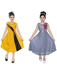 Vastra Fab Yellow and Blue Combo Dress