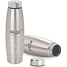 Sizzle Stainless steel Fridge Water Bottle,2 Pc Set, 1000 Ml,Silver