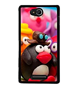 Funny Characters 2D Hard Polycarbonate Designer Back Case Cover for Sony Xperia C :: Sony Xperia C HSPA+ C2305