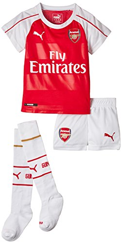 PUMA Jungen Trikot AFC Home Minikit with Hanger und Sponsor, High Risk Red-White-Victory Gold, 104, 748028 01