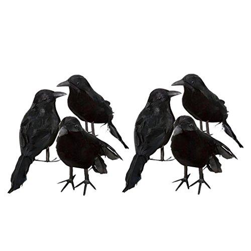 Non-brand 6 X Halloween Deko-Krähe Künstliche Rabe Krähe Mit Federn Schwarz Vogel