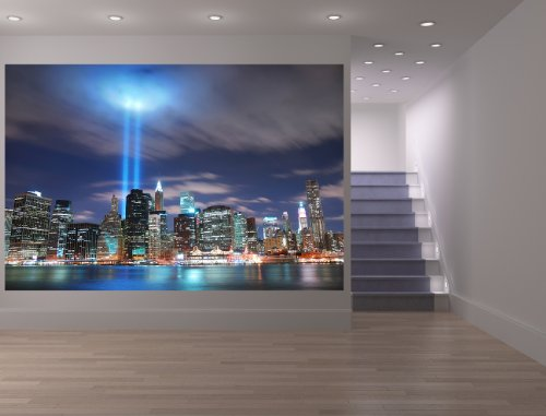 selbstklebende Fototapete - New York City (Manhattan) bei Nacht - USA - 150x100 cm - Wandtapete – Poster – Dekoration – Wandbild – Wandposter - Bild - Wanddeko
