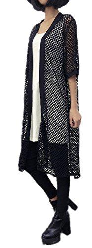 IWFREE Femmes Casual Sexy Mode Cardigan Veste En Tricot Manche Court Gillet Avec Bouton Cardigan Longue Noir