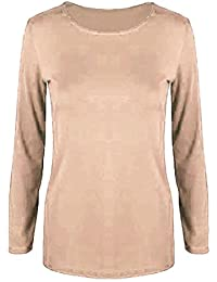 1db8e8cf5f Oops Outlet Womens Long Sleeves Stretchy Celebrity Plain Round Neck T Tee  Shirt Top