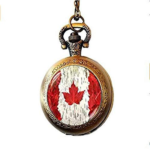 Taschenuhr-Halskette mit Kanada-Flagge, Toronto Ottawa Kanada Ahornblatt Flagge Taschenuhr Halskette