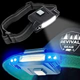 #9: Hat Light Rechargeable LED Headlamp : Best Head Lamp Clip On Flashlight Torch with Brightest Lumens Lights for Running Camping Cycling & Work. Bright UV Blue & White Headlight Bulb with USB Charger