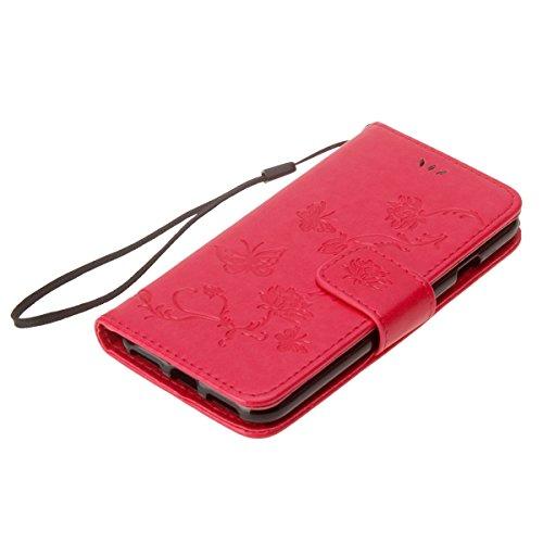 Custodia iPhone 6 Plus, ISAKEN Custodia iPhone 6S Plus, iPhone 6 Plus Flip Cover con Strap, Elegante borsa Albero Design in Sintetica Ecopelle Sbalzato PU Pelle Protettiva Portafoglio Case Cover per A Lotu: rossa